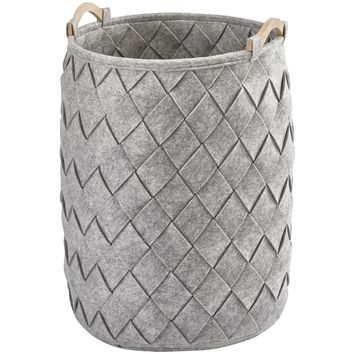 AMY Polyester Round Hamper Laundry Organizer Basket With Wood Carry Handles