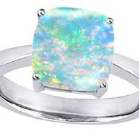 Original Star K(tm) 8mm Cushion Cut Solitaire Engagement Ring with Created Opal: Jewelry: Amazon.com