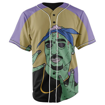 Zombie 2pac Button Up Baseball Jersey