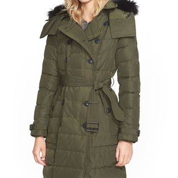 Women's Burberry Brit 'Allerdale' Genuine Fox Fur Trim Hooded Quilted Down Coat,