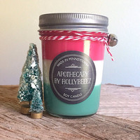 Soy candles triple scented red white green Christmas Candle hostess gift teacher gift for her jelly jar