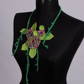 Clearance Sale Real Flower necklace,Crochet jewelry,Crochet leaf necklace,Crochet bib,Green necklace,Unique design necklaces,Unique necklace
