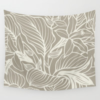 Floral Alabaster Blue Gray Wall Tapestry by Beautiful Homes