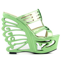 LF51805 Holographic/Red Stud Cut-out T Bar Butterfly Heel Mule Sandals