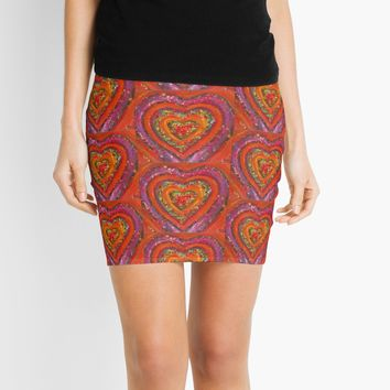 'Red Heart | Abstract Painting' Mini Skirt by Maria Meester