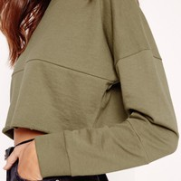 Missguided - Crop Panel Sweat Khaki