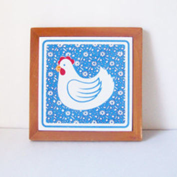 Vintage Blue and White Floral Tile Chicken Trivet / Wall Hanging