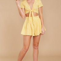 Face The Sun Yellow Gingham Two Piece Set
