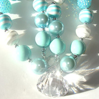 Mint Green And White Chunky Beaded Necklace Acrylic Diamond Pendant Girls To Women