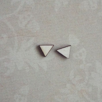 Tiny Wood Triangle Stud Earrings Post Wooden Studs