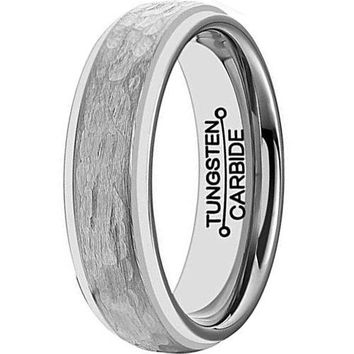 6mm Silver Tungsten Carbide Ring Handcrafted Hammered Grain Brushed Matte Wedding Engagement Band (Platinum)