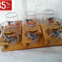 35% OFF Set of 6 Retro Cars Soviet Vintage Glasses with a Wooden tray Made in USSR in 1970s.