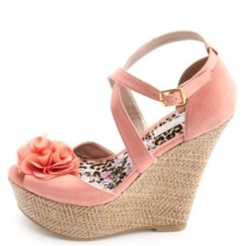 Rosette Peep Toe Platform Wedges by Charlotte Russe - Coral