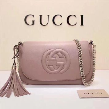 Gucci Women's New Style Leather Tassel Chain Shoulder Bag #34951 - Best Deal Online