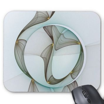 Abstract Modern Turquoise Brown Gold Elegance Mouse Pad