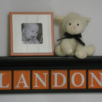 "Orange Nursery Decor - Baby Boy Nursery Wall Art 24"" Black Shelf with 6 Wooden Block Letters in Orange - LANDON"