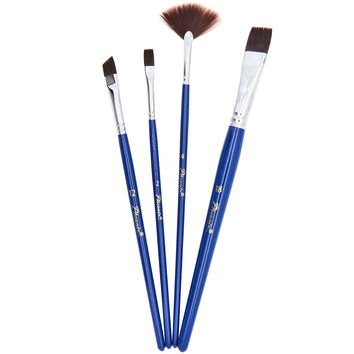 Brown Nylon Flat Short Handle Acrylic Paint Brushes Set