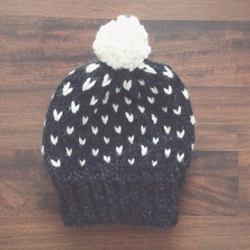 Knitted Fairisle Beanie Women's Knit Slouchy Winter Hat / THE FAIRLEE
