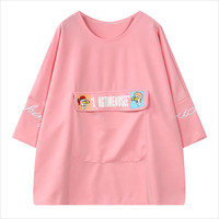 Pink Cartoon Pocket Print Loose T-Shirt