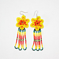 Beaded Huichol Earrings - Yellow Dangling Earrings - Beaded Flower Earrings - Native American Earrings - Huichol Beadwork - Huichol Jewelry