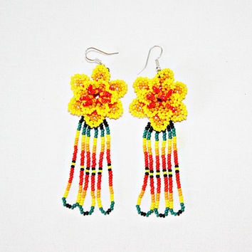 3eecd20704a560 Beaded Huichol Earrings - Yellow Dangling Earrings - Beaded Flower Earrings  - Native American Earrings -