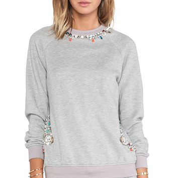 HEMANT AND NANDITA Crystal Neckline Sweatshirt