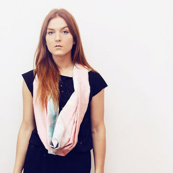 VIRGO 2/ Coral & Turquoise satin convertible hand colored long scarf with leather cuff - Ready to Ship