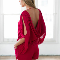 Wine red back backless long-sleeved sexy long-sleeved conjoined shorts hollow out design