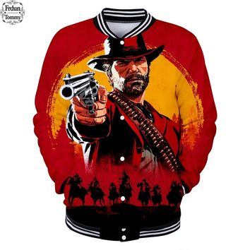 Frdun Tommy 2018 3D Jackets Red Dead Redemption 2 Winter Hooded Coat Fashion Jacket Harajuku Vadim Warm Bomber Jacket Clothes