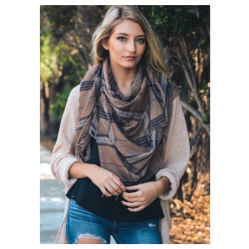 """""""Style and Flare"""" Frayed Edge Brown Plaid Oblong Scarf"""