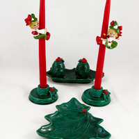 Vintage Collectible Lefton Holly Berry Christmas Set - Candle Holders, Climbers, Tree Dish, Salt & Pepper