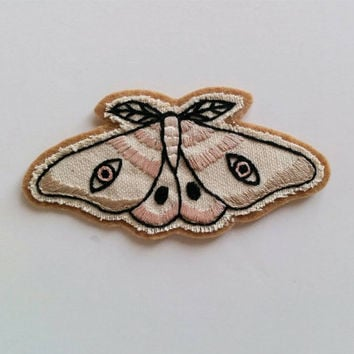 Light Moth | Hand Embroidered Canvas & Wool Felt Patch