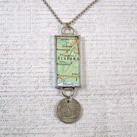 Alabama Map and Coin Pendant Necklace