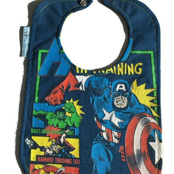 Captain America Bib Superhero Bib Upcycled T-shirt Baby Bib