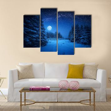 Full Moon Rising In A Starry Sky Multi Panel Canvas Wall Art