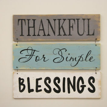Thankful For Simple Blessings Distressed Wood Wallhanging Shabby Chic Wall Decor Farmhouse Chic Decor Thanksgiving Decor