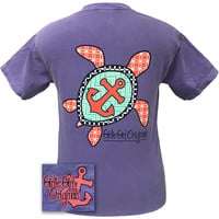 Girlie Girl Originals Chevron Turtle Anchor Violet Comfort Colors Bright T Shirt