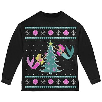 Mermaid Tree Ugly Christmas Sweater Toddler Long Sleeve T Shirt