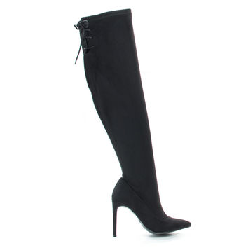 Riseup65s Black by Anne Michelle, Black Suede Pull-On High Heel Over The Knee Boot w Lace Tie Fastening Drawstring