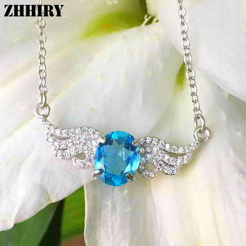 Natural Blue Topaz Necklace Genuine 925 Sterling Silver Prom Women Real Gem Jewelry Prom