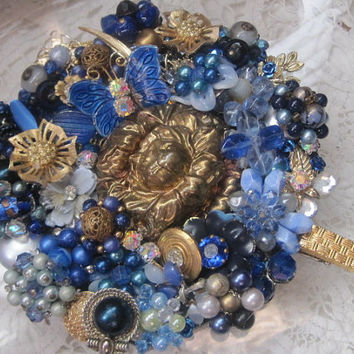 CLEARANCE, Blue Rapture-Elegant Vanity Mirror Designed With Vintage Jewelry, Was 89.00 Now 50.00