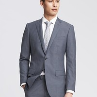 Banana Republic Mens Monogram Blue Italian Wool Cotton Blend Suit Jacket