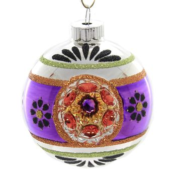 Shiny Brite DECORATED ROUNDS Glass Ornament Halloween 4026977 Purple