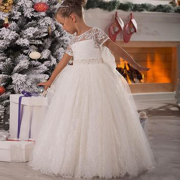 Princess Flower Girl Dress Lace Appliques Cap Sleeve Beading Belt Open V Back Floor Length Ruffle Tulle Ball Gowns with Big Bow