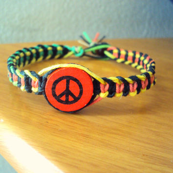 Peace Bracelet One Love Rasta Bracelet Hemp Peace Sign Jewelry