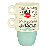 """Grasslands Road """"Good Morning.."""" His & Hers Stacked Mugs - Set of 2"""