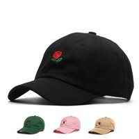 1PCS Summer Rose Embroidery Flower Caps Hat Curved Snapback Baseball Caps women men Hip Hop Hat 5 Colors