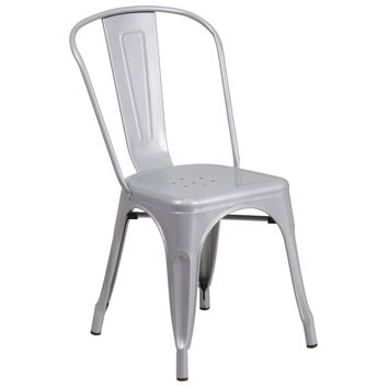 Flash Furniture Silver Metal Indoor-Outdoor Stackable Chair [CH-31230-SIL-GG]