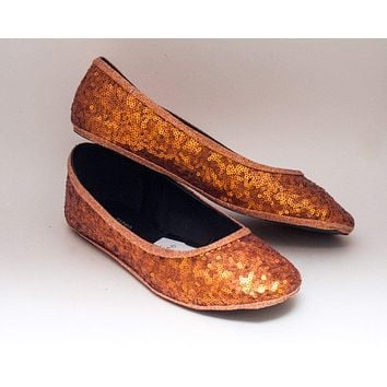 Orange Sequin Ballet Flats