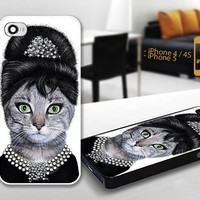 PCFH018 audrey hepburn cat - Custom Design For iPhone 5 Plastic And iPhone 4 / 4S Case Cover - Black / White Cases